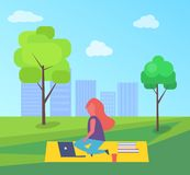 Girl Having Rest Sitting on Rug in Park Cartoon. Girl having rest in park sitting on rug vector at skyscrapers and green trees. Lady with laptop, paper cup of vector illustration
