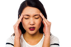 Girl having serious headache Royalty Free Stock Photo