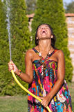 Girl having a shower bath water Royalty Free Stock Images