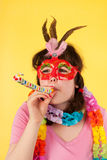 Girl is having a stunning birthday. Young girl is having an amazing birthday party royalty free stock image