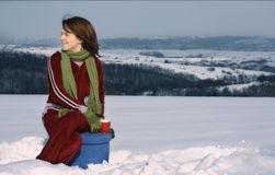 Girl having tea in winter Stock Photo