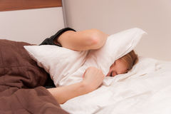 Girl having Trouble Sleeping Stock Photos
