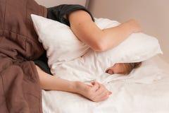 Girl having Trouble Sleeping Stock Photography
