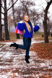 Girl having a walk outdoor in wintertime Stock Image