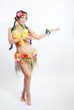 Girl with Hawaiian accessories stock photos