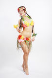 Girl with Hawaiian accessories stock image