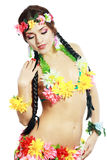 Girl with Hawaiian accessories royalty free stock images