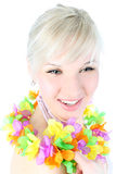 Girl in hawaiian flower Royalty Free Stock Photo