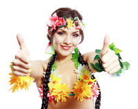 Girl with Hawaiian thumbs up Stock Image