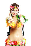 Girl with Hawaiian thumbs up Royalty Free Stock Images