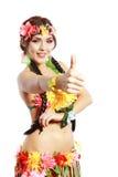 Girl with Hawaiian thumbs up Royalty Free Stock Photos