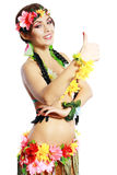 Girl with Hawaiian thumbs up Royalty Free Stock Photography
