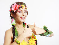 Girl with Hawaiian thumbs up Stock Images