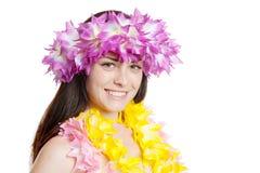 Girl in a Hawaiian Wreath. Pretty smiling girl in a hawaiian wreath portrait Royalty Free Stock Photography