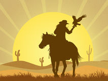Girl with hawk in the desert. Illustration of girl with hawk in the desert Royalty Free Stock Photography