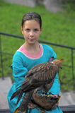 Girl with a hawk Royalty Free Stock Photos