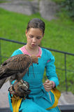 Girl with a hawk Royalty Free Stock Photography