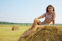 Girl on hay Royalty Free Stock Photography