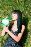 The girl on hay Stock Photography