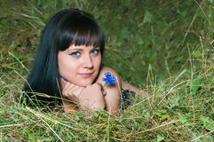 The girl on hay Stock Photo