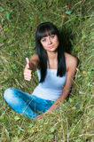 The girl on hay Stock Image