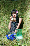 The girl on hay Stock Photo