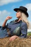 Girl in the hay Stock Photo