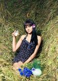 The girl on hay Stock Photos
