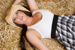 Girl in Hay Stock Photography
