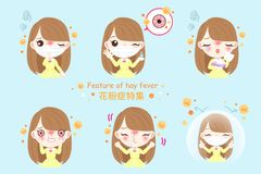 Girl with hay fever. Girl with pollen allergy and feature of hay fever in chinese word royalty free illustration