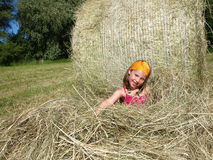 Girl in the hay Royalty Free Stock Photo