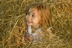 Girl in hay stack. Happy preschool girl playing in hay stack Royalty Free Stock Images