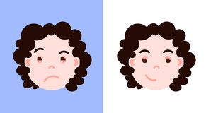 Girl head emoji personage icon with facial emotions, avatar character, woman cunning face with different female emotions. Concept. flat design. vector Stock Photos