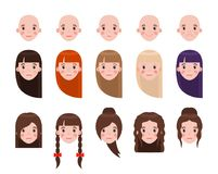 Girl Head with Hairstyles and Emotional Faces Set. Modern hairstyles and colored long hair. Faces that express emotions isolated vector illustrations Stock Photos