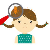 Girl with head lice Royalty Free Stock Photography