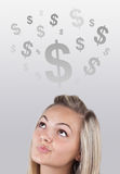 Girl head looking at business icons and images Royalty Free Stock Image