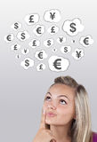 Girl head looking at business icons and images Stock Photos