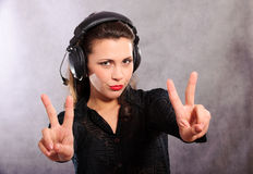 Girl in head-phones Stock Photography