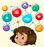 Girl head and science symbols Stock Image