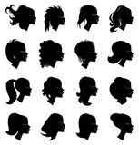 Girl head silhouette icons set Royalty Free Stock Photo