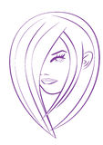 Girl head. Silhouette suited for beauty salons Stock Photo