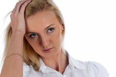 Girl with headache Stock Photos