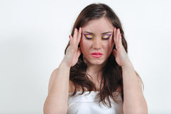 The girl with a headache Stock Image