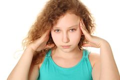 Girl headache Stock Images