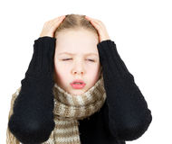 Girl with headache isolated on white Stock Images