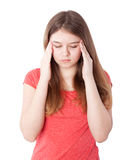 Girl with headache Royalty Free Stock Image