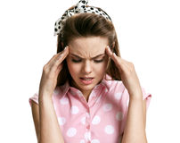Girl with headache stressed Stock Photography