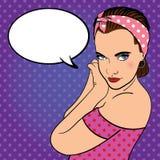 Girl with headband. Comics style. Stock Images