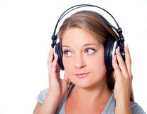 Girl with headphone Royalty Free Stock Photos
