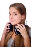 Girl with headphone Stock Image